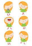Emotions of the little girl. Set. Emotions of the little girl. Ð¡artoon. Feelings royalty free illustration