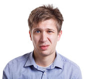 Emotions, man face expressing disgust, isolated Stock Photo
