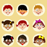 Emotions and nationality avatars children. In vector Royalty Free Stock Image