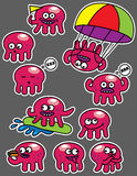 Emotions octopus set of stickers Royalty Free Stock Photo