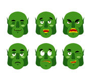 Emotions ogre. Set emoji expressions avatar green monster. Good Royalty Free Stock Image