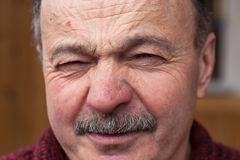 Emotions at the older man's face Royalty Free Stock Photo