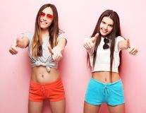 Emotions, people, teens and friendship concept - two young teen Stock Photography