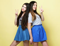 Emotions, people, teens and friendship concept - two young teen Royalty Free Stock Photography