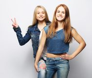 Emotions, people, teens and friendship concept - two young teen. Emotions, people, teens and friendship concept - two beautiful young teen girl giving victory Royalty Free Stock Photos