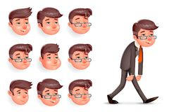 Emotions Pleased Happy Satisfied Tired Weary Fatigue Melancholy Sad Businessman Walk Cartoon Design Character Vector. Emotions Pleased Happy Satisfied Tired Stock Photos