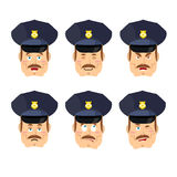 Emotions policeman icon. Set expressions avatar cop. Good and ev Stock Photography