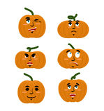 Emotions pumpkin. Set expressions avatar for Halloween. Good and Stock Images