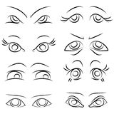 Emotions. Set of pairs of eyes. vector Stock Image