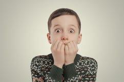 Emotions. Shocked boy looking at camera. Royalty Free Stock Photos