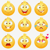 Emotions smilies. Set of super funny and cute yellow expressive emoticons on white background Stock Image