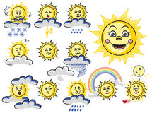 Emotions sun with cloud and weather Royalty Free Stock Images