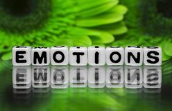 Emotions text message with green flowers Stock Images