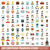100 emotions training icons set, flat style Stock Images