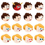 Emotions. Vector set of various boy and girl emotions Royalty Free Stock Images