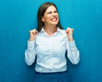 Emotions woman broker when share prices are falling down. Royalty Free Stock Image