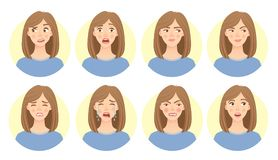Emotions of womans face set. Emotions of woman face. Facial expression set. Vector illustration of beautiful woman Stock Photography