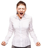 Emotions woman at white background. Screaming woman isolated on white background. Emotional stress, problems, frustration, hysterical, desperation Royalty Free Stock Photo