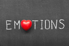 Emotions. Word handwritten on chalkboard with heart symbol instead of O Royalty Free Stock Images