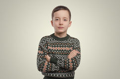 Emotions. Young boy portrait. Looking at camera. Stock Photo