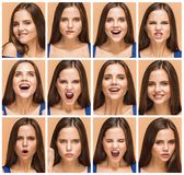 The emotions of young brunette woman. Studio. The collage of emotions of young brunette woman in a blue dress in studio on brown background Stock Image