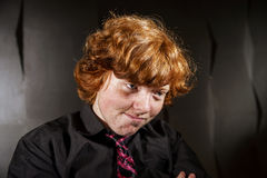 Emotive portrait of red-haired freckled boy, childhood concept Royalty Free Stock Photo