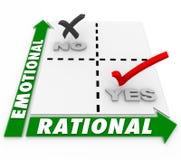 Emozionale contro migliore opzione decisionale Choice razionale Alterna illustrazione di stock