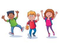 Emozionante e felice di nuovo ai bambini della scuola immagini stock libere da diritti