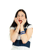 Emozionante sorpreso attraente spaventato Fotografie Stock Libere da Diritti