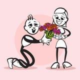 Emozione di Stickman di matrimonio di proposta royalty illustrazione gratis