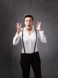 Emozione di timore della donna fotografie stock libere da diritti