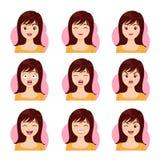 Emozione lunga del fronte dei capelli della donna Fotografia Stock