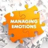 Emozioni in carico sul puzzle giallo Fotografie Stock Libere da Diritti