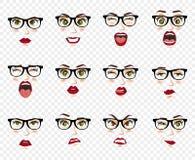 Emozioni comiche Donna con le espressioni facciali di vetro, gesti, entusiasmo di tristezza di repulsione di sorpresa di felicità royalty illustrazione gratis