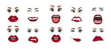 Emozioni comiche Espressioni facciali delle donne, gesti, delusione di entusiasmo di tristezza di repulsione di sorpresa di felic illustrazione di stock