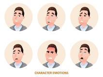 Emozioni degli avatar del carattere nel cerchio Immagine Stock