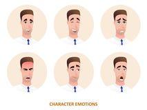 Emozioni degli avatar del carattere nel cerchio Immagini Stock Libere da Diritti