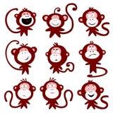 Emozioni del carattere della scimmia Immagine Stock