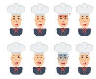 Emozioni del cuoco unico fissate delle icone piane Fotografia Stock Libera da Diritti