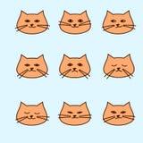 Emozioni del gatto sveglio del fumetto Immagini Stock Libere da Diritti