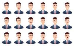 Emozioni dell'uomo Caratteri capi di vettore del ritratto dei caratteri dei fronti di tristezza di sorriso differente facciale di illustrazione di stock
