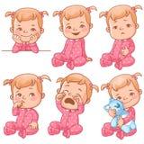 Emozioni della neonata fissate Fotografia Stock Libera da Diritti
