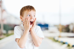 Emozioni di manifestazione del ragazzino al fondo del parco con luce Immagine Stock