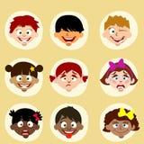 Emozioni e bambini degli avatar di nazionalità Immagine Stock Libera da Diritti