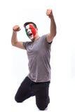Emozioni felici e di scopo di vittoria, di grido del tifoso italiano nel supporto del gioco dell'Italia Immagine Stock Libera da Diritti