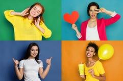 Emozioni felici femminili fissate Fotografia Stock
