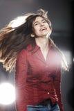 Emozioni, ragazza di dinamica Fotografie Stock