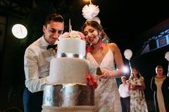 Emozioni ridicole della coppia sposata giusta Fotografia Stock Libera da Diritti