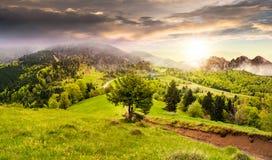 Empáñese alrededor el castillo en la colina de la montaña en la puesta del sol Fotografía de archivo libre de regalías