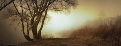 Empáñese sobre el agua en la primavera en la madrugada Imagen de archivo